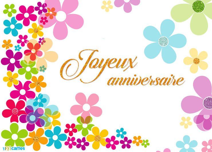 carte anniversaire flower power