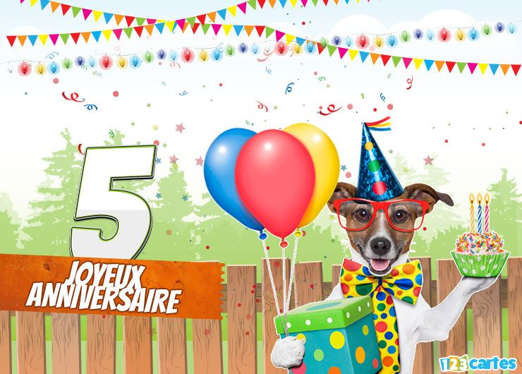 carte anniversaire happy dog 5 ans