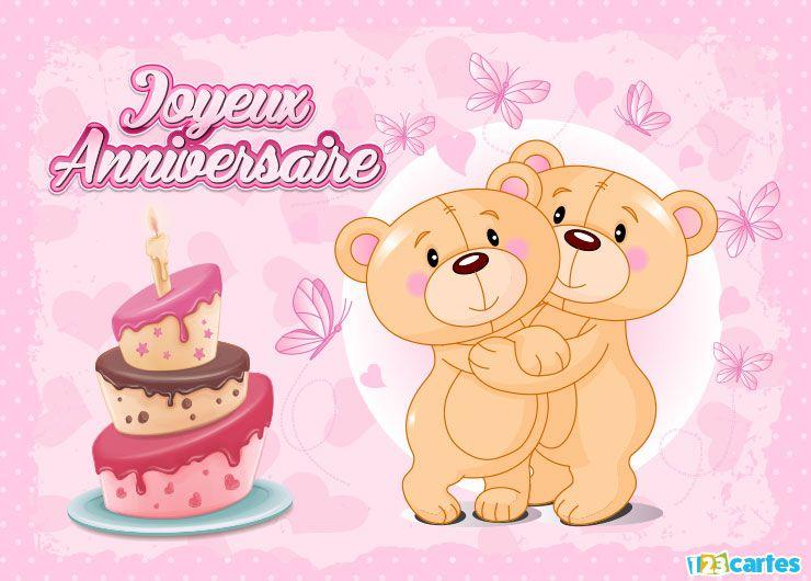 2 ours en peluche, gâteau d'anniversaire, papillons
