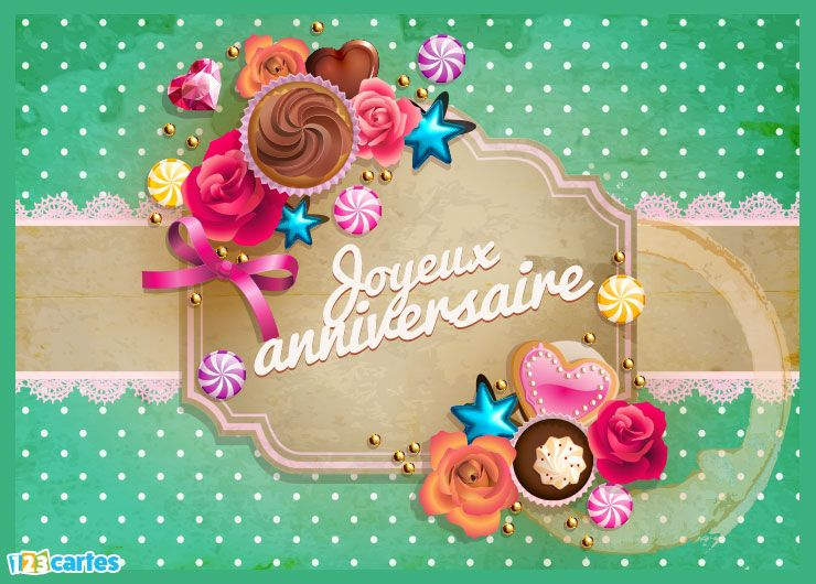 Carte joyeux anniversaire thé et gorumandises