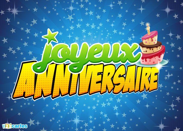 étoiles sur fond bleu, gâteau d'anniversaire et joyeux anniversaire en grand