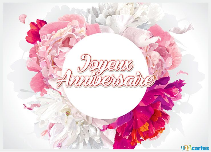 Carte anniversaire bouquet aquarelle 123 cartes for Bouquet de fleurs pour 60 ans