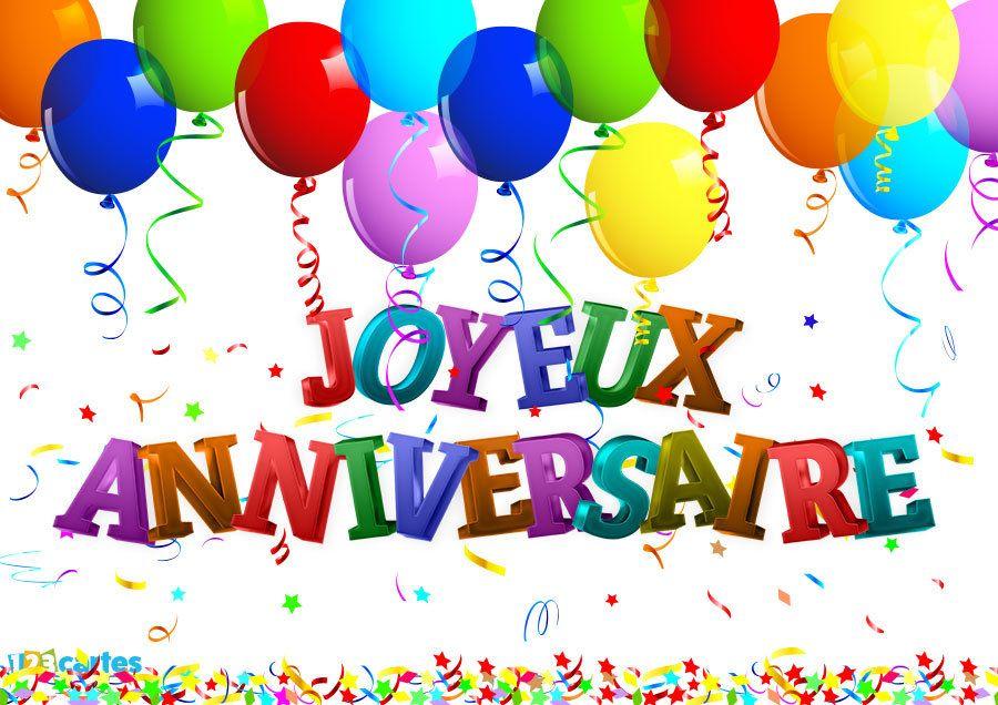 Ballons multicolores et le texte joyeux anniversaire en 3D et des confettis en arrière-plan - carte anniversaire