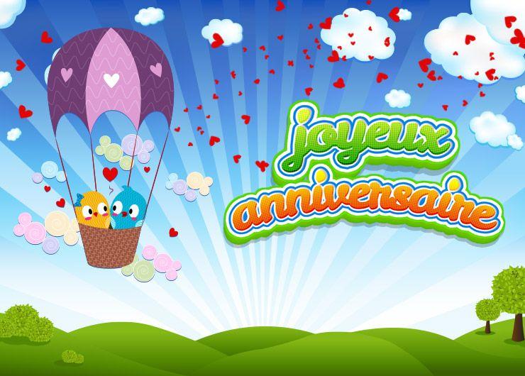 carte joyeux anniversaire vol en montgolfière en amoureux