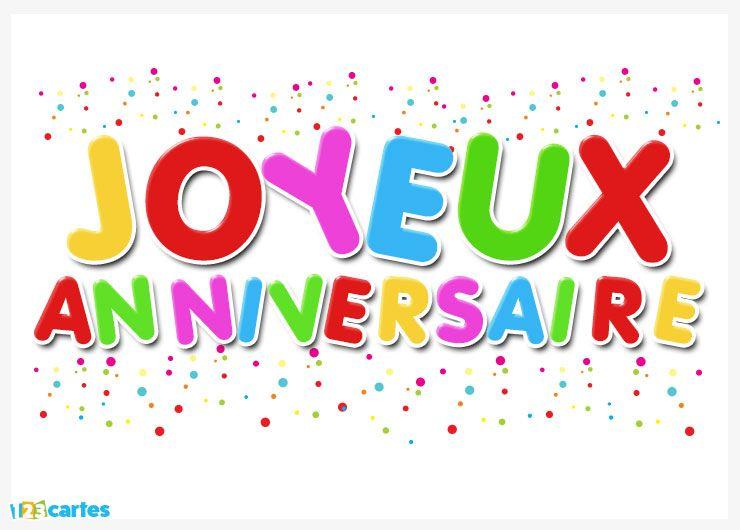 joyeux anniversaire avec lettres de couleurs différentes, confettis