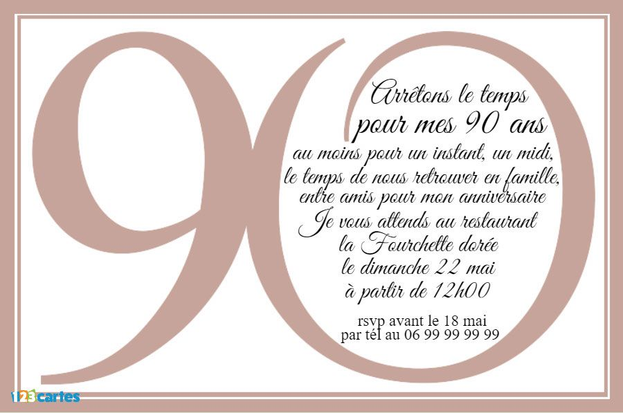 invitation anniversaire 90 ans en chiffres 123 cartes. Black Bedroom Furniture Sets. Home Design Ideas