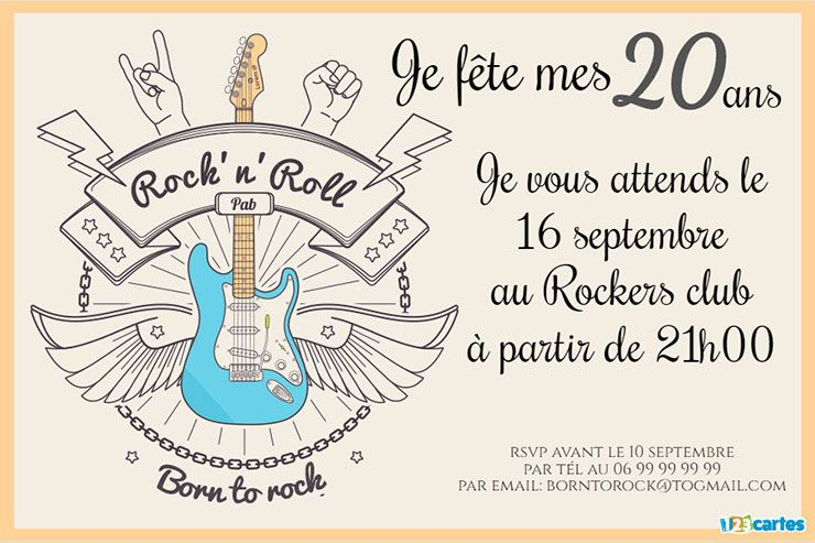 invitation anniversaire born to rock