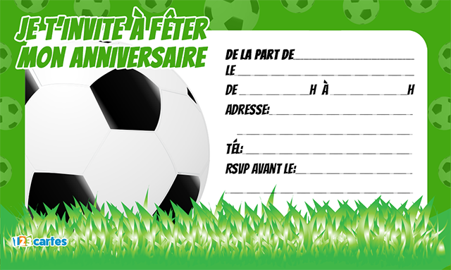 invitation anniversaire ballon football