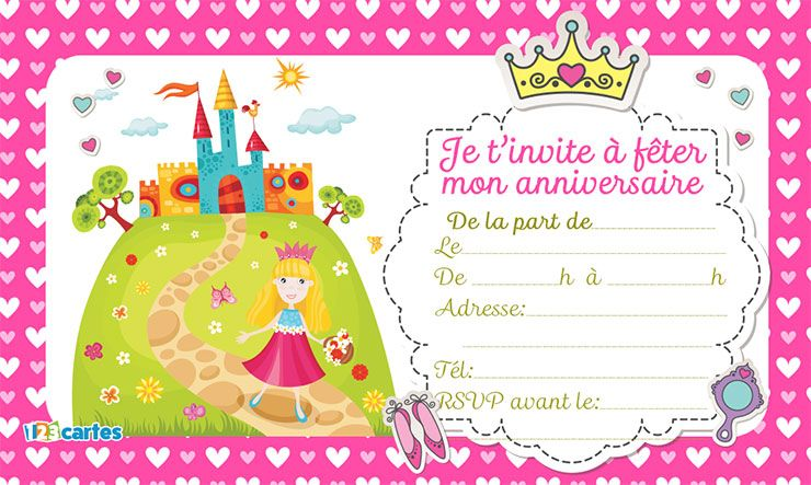 invitation anniversaire le ch teau de mes r ves 123 cartes. Black Bedroom Furniture Sets. Home Design Ideas