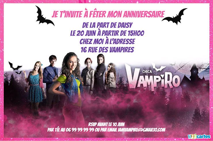 invitation anniversaire chica vampiro rose paillettes
