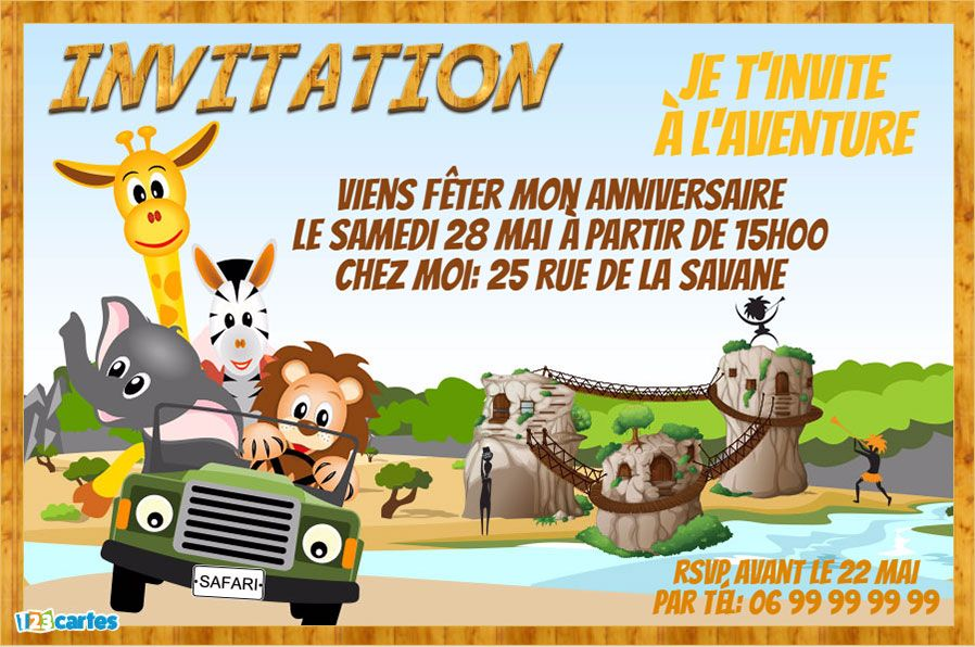 Top Invitation anniversaire safari - 123 cartes YY43