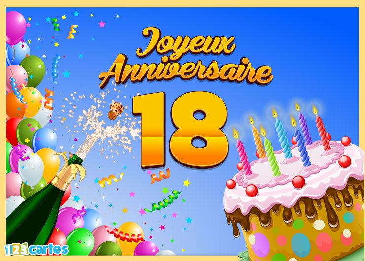 Favori 18 ans - Cartes et invitations gratuites - 123 cartes NN09