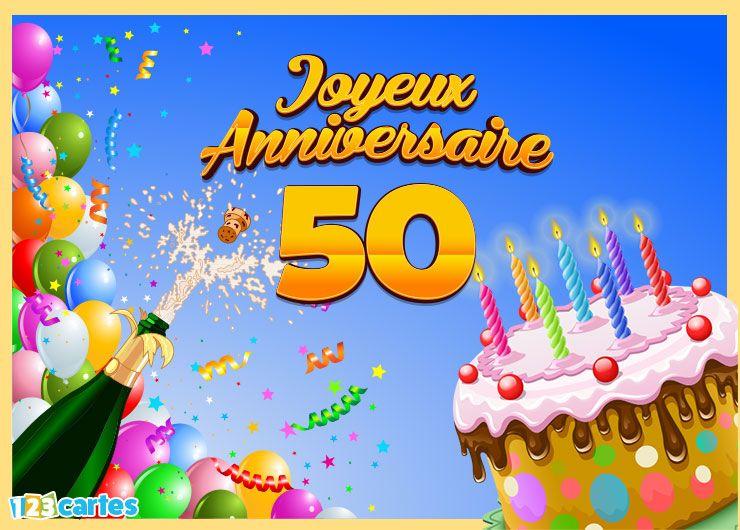 carte joyeux anniversaire 50ans