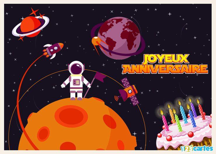 carte joyeux anniversaire de l'espace