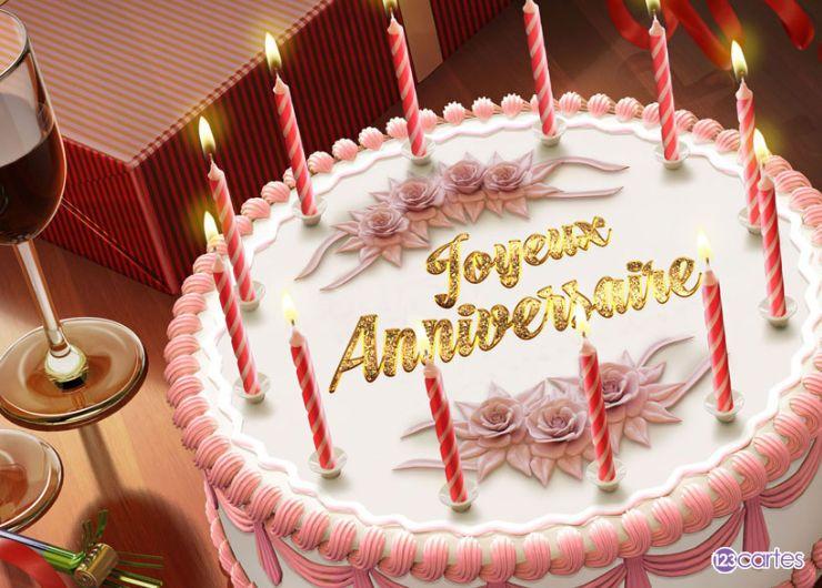 carte joyeux anniversaire gâteau et vin