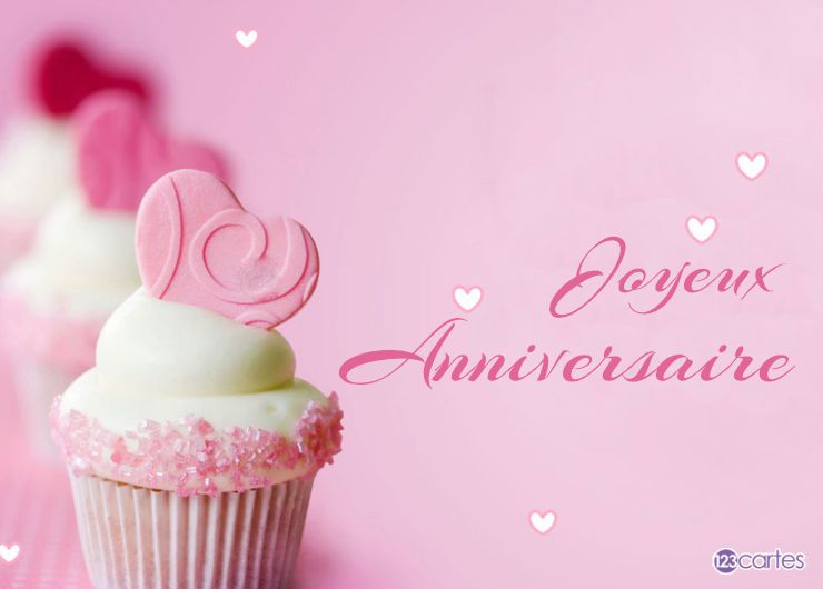 carte joyeux anniversaire pink muffins