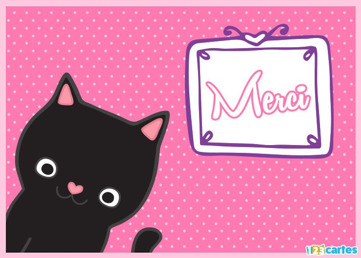 carte merci chat mignon rose