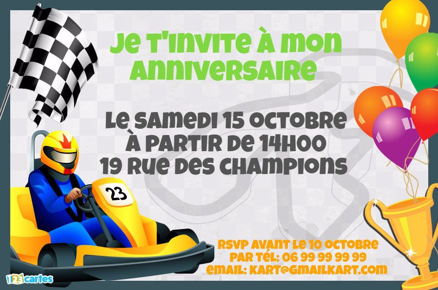 invitation anniversaire karting