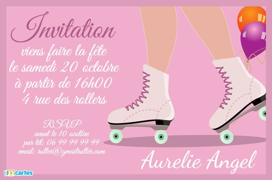 invitation roller quad sur fond rose