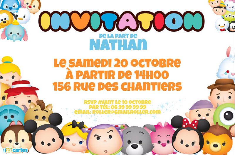 Top Invitation anniversaire peluches Tsum Tsum - 123 cartes JV95