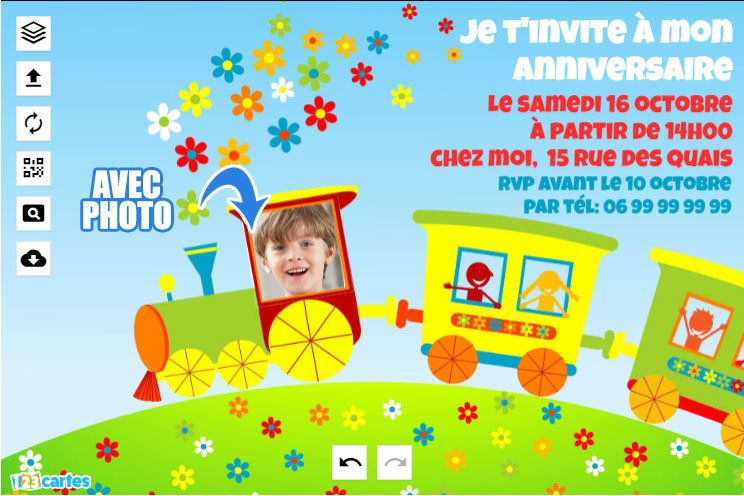 invitation anniversaire train avec photo