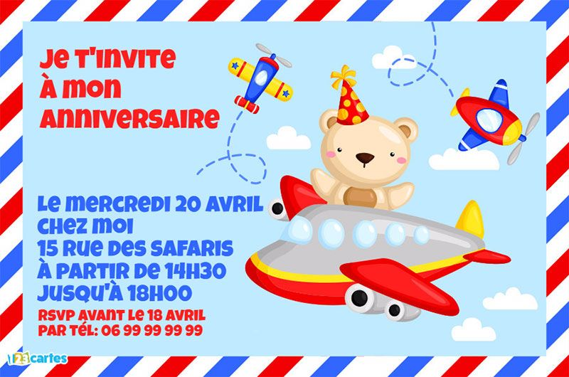invitation petit aviateur illustration peluche et avions