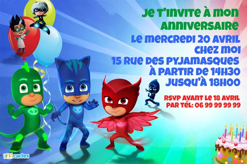 invitation pyjamasques gratuite