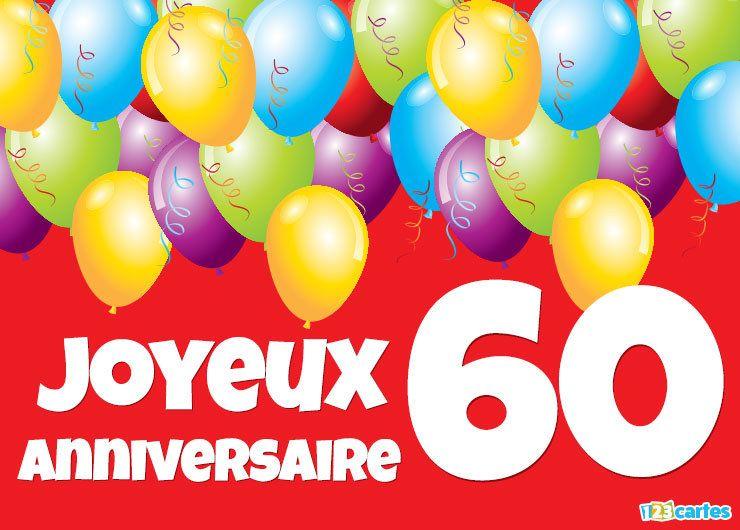 carte anniversaire 60 ans ballons multicolores sur fond rouge