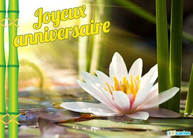 carte anniversaire fleur lotus