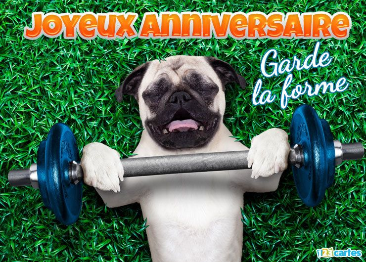 carte anniversaire humour petit chien faisant de la musculation
