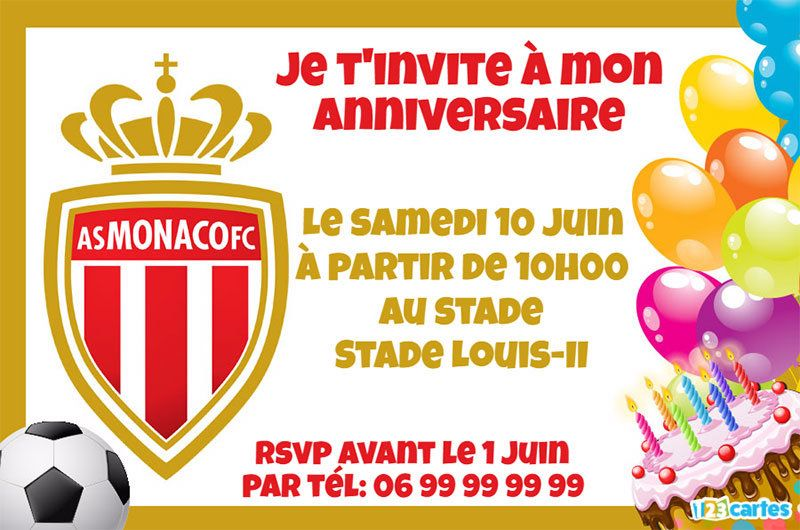 invitation anniversaire AS Monaco