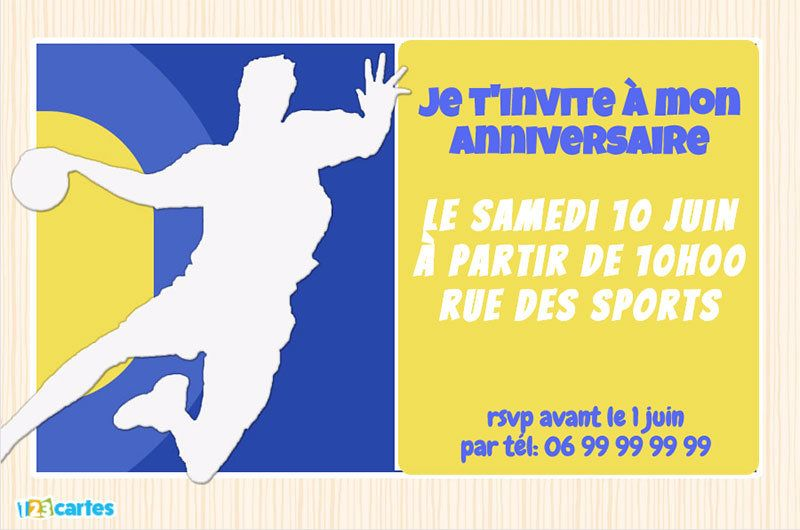 invitation anniversaire handball