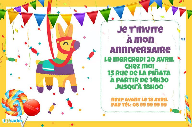 123 cartes invitation anniversaire pinata. Black Bedroom Furniture Sets. Home Design Ideas