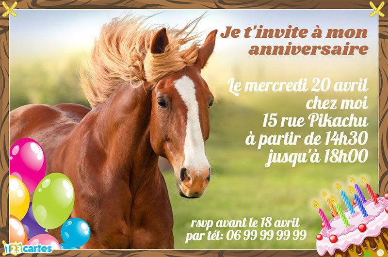 Top Invitation anniversaire cheval au galop - 123 cartes WD24