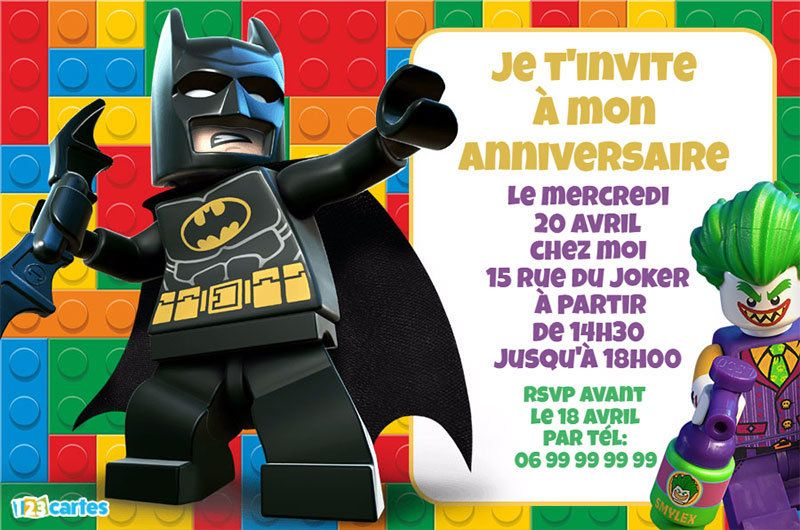 Fabuleux lego - Cartes et invitations gratuites - 123 cartes BB96