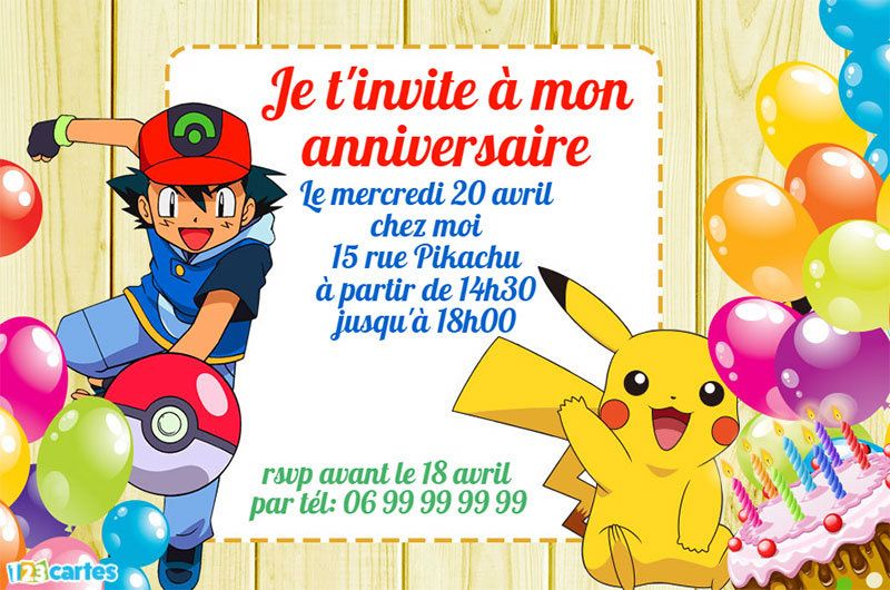 invitation anniversaire pokemon sasha pokeball pikachu