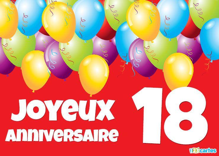 18 ans carte joyeux anniversaire ballons multicolores