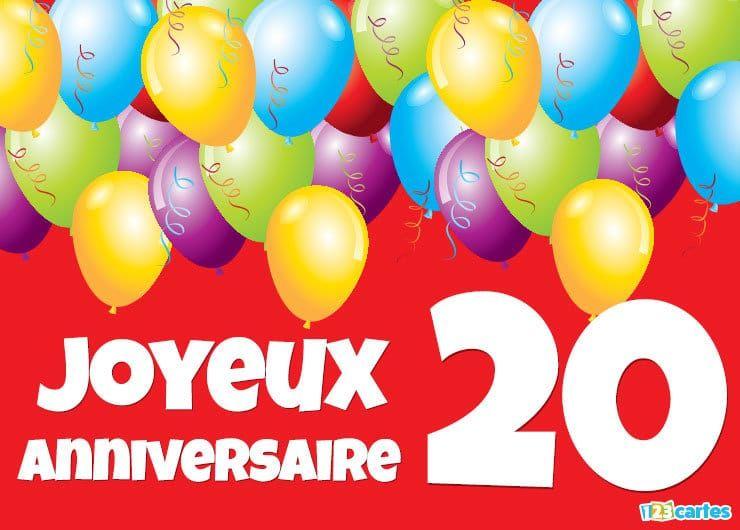 Carte joyeux anniversaire 20 ans ballons multicolores