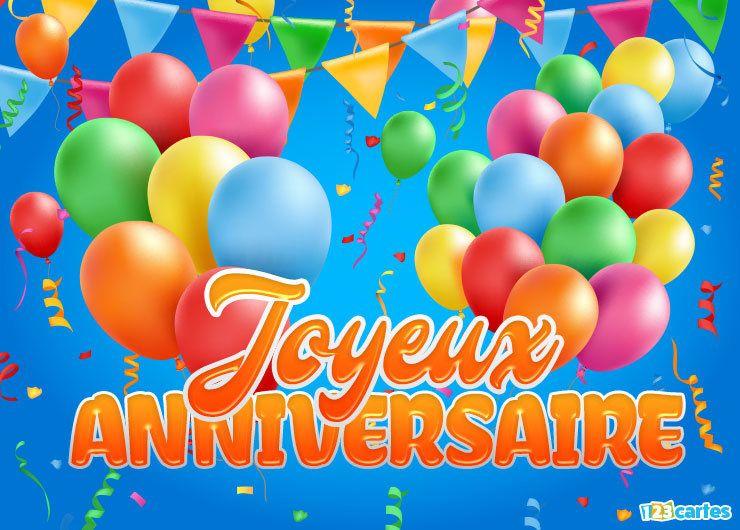 carte anniversaire avec des ballons gonflables couleurs flashy