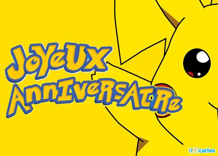 carte joyeux anniversaire pikachu