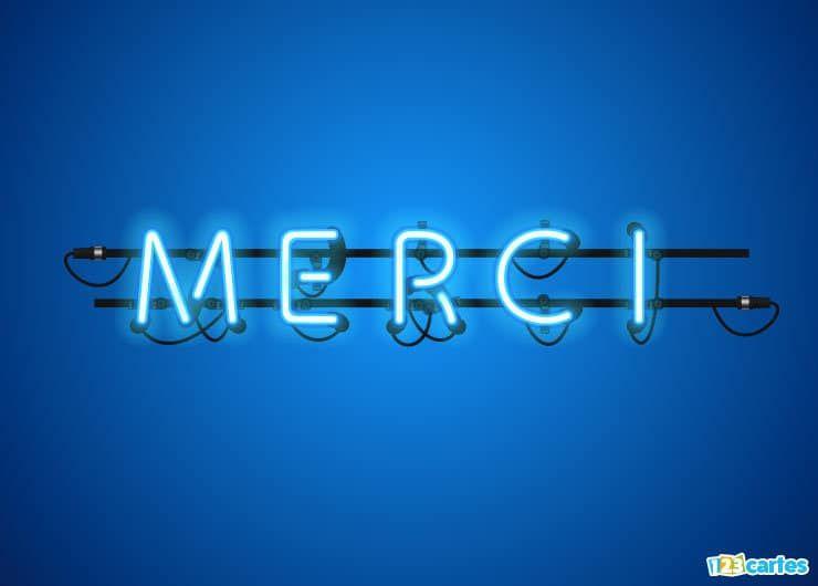 carte merci en lettres lumineuses néon bleu