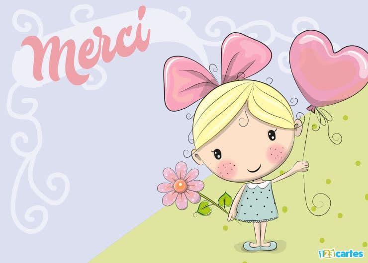 Carte merci la petite fille à la fleur