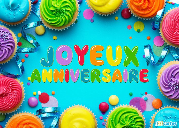 carte joyeux anniversaire cupcakes multicolores