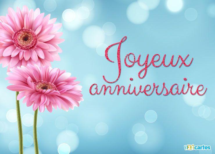 Carte joyeux anniversaire fleurs de Gerbera