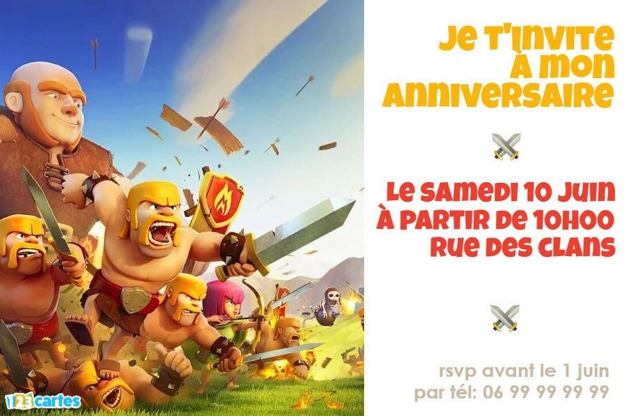 Invitation anniversaire Clash of Clans