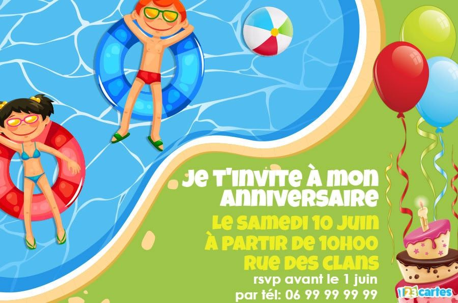 Bien connu Invitation anniversaire piscine party - 123 cartes IZ12