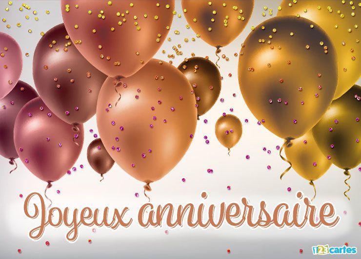 carte joyeux anniversaire ballons gonflables en nylon métallisé