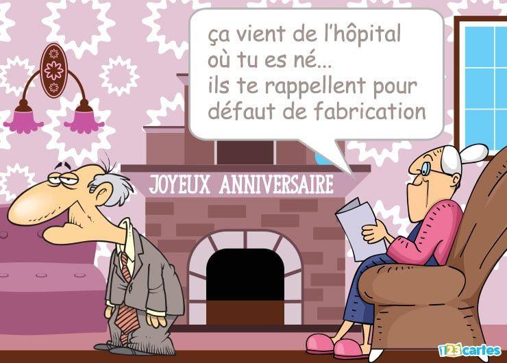 un couple de vieux dans un salon avec un texte drôle - carte anniversaire