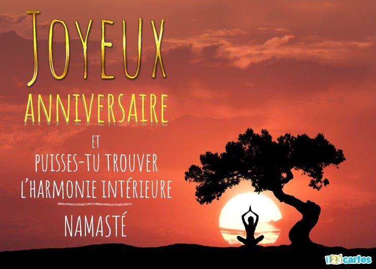 Carte Anniversaire Yoga 123cartes