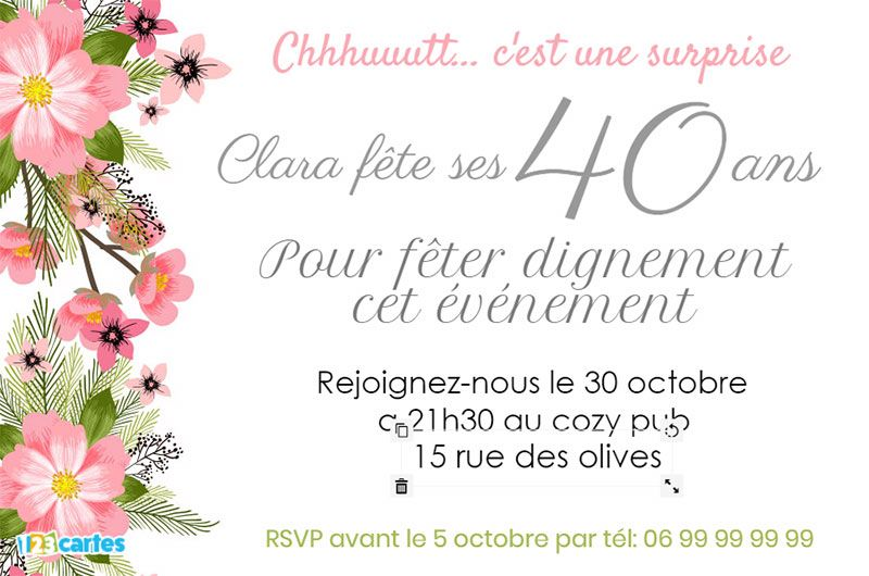 invitation 40 ans anniversaire su15 jornalagora. Black Bedroom Furniture Sets. Home Design Ideas